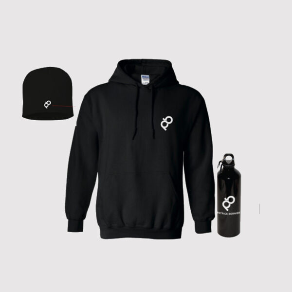hoodie, bouteille, bonnet avec logo pb